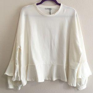 Zara Cream Frilled Ruffle Hem Sleeves Sweatshirt